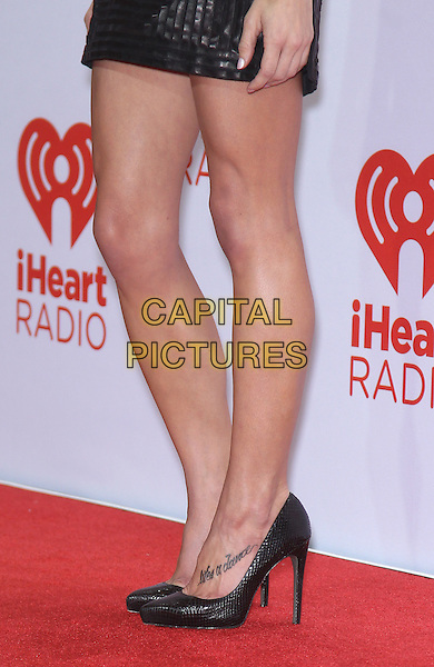 Ashley Greene's shoes <br /> iHeart Radio Music Festival 2013 Day one photo room at MGM Grand Garden Arena, Las Vegas, Nevada, USA, 20th September 2013.<br /> detail feet black shoes heels tattoo on foot <br /> CAP/ADM/MJT<br /> © MJT/AdMedia/Capital Pictures