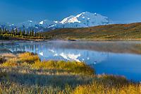 Morning autumn landscape of Denali and Wonder Lake, Denali National Park, Interior, Alaska