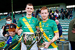 Flor McCarthy, Kilmoyley captain with the Neilus Flynn cup and man of the match Dougie Fitzell, Kilmoyley, after the County Senior hurling Final between Kilmoyley and Saint Brendan's at Austin Stack park on Sunday.