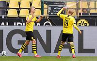 16th May 2020, Signal Iduna Park, Dortmund, Germany; Bundesliga football, Borussia Dortmund versus FC Schalke;   BVB Erling Haland celebrates his goal for 1:0  with Julian Brand