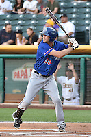 Jared Hoying (30) of the Round Rock Express at bat against the Salt Lake Bees in Pacific Coast League action at Smith's Ballpark on August 21, 2014 in Salt Lake City, Utah.  (Stephen Smith/Four Seam Images)