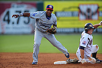 Victor Mercedes completes a double play at Smokies Park June 11, 2009  in Sevierville, TN (Photo by Tony Farlow/ Four Seam Images)