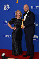 LOS ANGELES, USA. January 05, 2020: Chris Butler & Arianne Sutner in the press room at the 2020 Golden Globe Awards at the Beverly Hilton Hotel.<br /> Picture: Paul Smith/Featureflash