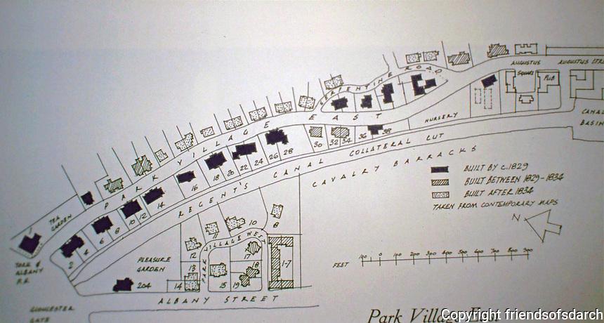 Park Village East, Plan by John Nash, 1829-1834. Regents Park.