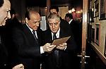 """SILVIO BERLUSCONI CON MARCELLO DELL'UTRI75° COMPLEANNO DI LINO JANNUZZI - """"DA FORTUNATO AL PANTHEON"""" ROMA 2003"""