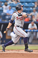 Rome Braves right fielder Braxton Davidson (24) swings at a pitch during a game against the Asheville Tourists on July 28, 2015 in Asheville, North Carolina. The Tourists defeated the Braves 3-2. (Tony Farlow/Four Seam Images)