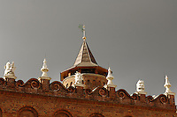 Poland, Tarnow, Ornate rooftop gargoyles, Town Hall