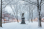 Fresh snow on Commonwealth Avenue in the Back Bay, Boston, Massachusetts, USA