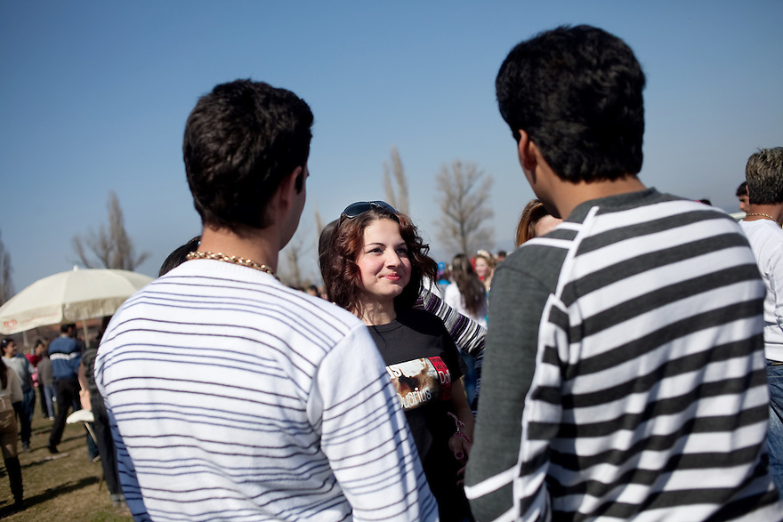 Mogila, Bulgaria, Kalaidzhi-- Teodorka Dimitrova, 18, meets prospective husbands at the annual Kalaidzhii meeting and bride market. Since Teodorka's family is the only Kalaidzhi in her village of 150, the market provides an opportunity to eligible men from the Roma subgroup. .