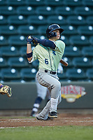 Kyle Isbel (6) of the Wilmington Blue Rocks follows through on his swing against the Winston-Salem Dash at BB&T Ballpark on April 15, 2019 in Winston-Salem, North Carolina. The Dash defeated the Blue Rocks 9-8. (Brian Westerholt/Four Seam Images)