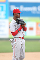 Ti'Quan Forbes (10) of the Spokane Indians in the field during a game against the Everett AquaSox at Everett Memorial Stadium on July 24, 2015 in Everett, Washington. Everett defeated Spokane, 8-6. (Larry Goren/Four Seam Images)