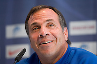USA's Bruce Arena speaks to reporters during a news conference in Hamburg, Germany, for the 2006 World Cup, June, 8, 2006.