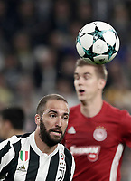 Football Soccer: UEFA Champions League Juventus vs Olympiacos Allianz Stadium. Turin, Italy, September 27, 2017. <br /> Juventus' Gonzalo Higuain in action during the Uefa Champions League football soccer match between Juventus and Olympiacos at Allianz Stadium in Turin, September 27, 2017.<br /> UPDATE IMAGES PRESS/Isabella Bonotto