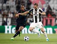 Football Soccer: UEFA Champions League semifinal second leg Juventus - Monaco, Juventus stadium, Turin, Italy,  May 9, 2017. <br /> Juventus' Gonzalo Higuain (r) in action with Monaco's Djibril Sidibé (l) during the Uefa Champions League football match between Juventus and Monaco at Juventus stadium, on May 9, 2017.<br /> UPDATE IMAGES PRESS/Isabella Bonotto
