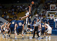 Richard Solomon of California tips off against Christian Hatch of San Diego during the game at Haas Pavilion in Berkeley, California on November 1st, 2011.  California defeated San Diego, 88-53.