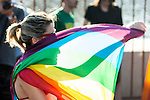 A girl dancing with the Gay Pride flag during the protest Madrid Pride 2016. July 02. 2016. (ALTERPHOTOS/Borja B.Hojas)