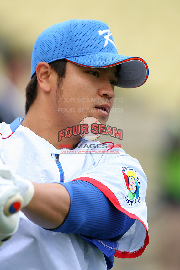 Shin Soo Choo of Korea during a game against Venezuela at the World Baseball Classic at Dodger Stadium on March 21, 2009 in Los Angeles, California. (Larry Goren/Four Seam Images)