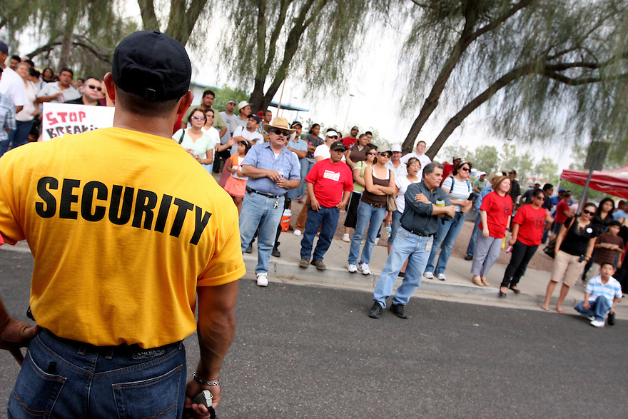 AJ Alexander/AJAimages 62608 - Security protecitng the protesters at a City of Mesa Crime Suppression Operation by Maricopa County Sheriff's Office, Sheriff Joe Arpaio..Photo by AJ Alexander