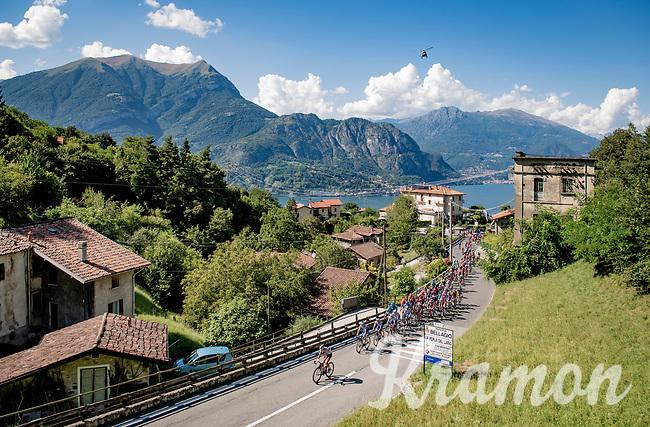 peloton starting the climb towards the Madonna del Ghisallo (754m)<br /> <br /> 114th Il Lombardia 2020 (1.UWT)<br /> 1 day race from Bergamo to Como (ITA/231km) <br /> <br /> ©kramon
