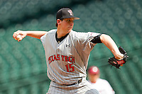 Starting pitcher Duke von Schamann #1 of the Texas Tech Red Raiders in action against the Arkansas Razorbacks at Minute Maid Park on March 2, 2012 in Houston, Texas.  The Razorbacks defeated the Red Raiders 3-1.  Brian Westerholt / Four Seam Images