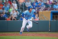 Omaha Storm Chasers Nick Pratto (32) runs to first base during a game against the Iowa Cubs on August 14, 2021 at Werner Park in Omaha, Nebraska. Omaha defeated Iowa 6-2. (Zachary Lucy/Four Seam Images)