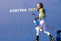 13th February 2021, Cortina, Italy; FIS World Championship Womens Downhill Skiing;  Silver medal winner Kira Weidle of Germany during the winners ceremony