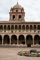 Peru, Cusco.  Bell Tower of Santo Domingo Monastery, rebuilt after 1915 Earthquake.  Andean baroque Sytyle.  The monastery was built on and around the site of the Qorikancha, Inca Temple of the Sun.