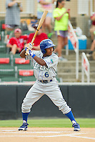 Terrance Gore (6) of the Lexington Legends at bat against the Kannapolis Intimidators at CMC-Northeast Stadium on July 31, 2013 in Kannapolis, North Carolina.  The Intimidators defeated the Legends 3-2.  (Brian Westerholt/Four Seam Images)