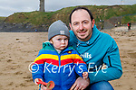 Little Shéa O'Connor with his dad Anthony O'Connor enjoying the beach in Ballybunion on Saturday.