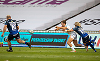 21st August 2020; AJ Bell Stadium, Salford, Lancashire, England; English Premiership Rugby, Sale Sharks versus Exeter Chiefs; Jack Maunder of Exeter Chiefs is tackled by Faf de Klerk of Sale Sharks