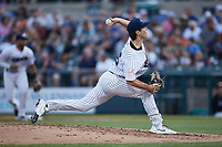 Somerset Patriots starting pitcher Ken Waldichuk (26) delivers a pitch to the plate against the Altoona Curve at TD Bank Ballpark on July 24, 2021, in Somerset NJ. (Brian Westerholt/Four Seam Images)