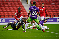 3rd October 2020; City Ground, Nottinghamshire, Midlands, England; English Football League Championship Football, Nottingham Forest versus Bristol City; scramble in th goal mouth of Bristol City