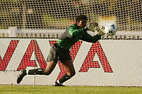 Goal keeper Briana Scurry makes a save. The USWNT defeated Russia 5-1 on  September 29, at Mitchel Athletic Complex, Uniondale, NY.