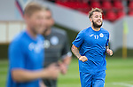 Spartak Trnava v St Johnstone...06.08.14  Europa League Qualifier 3rd Round<br /> Stevie May all smiles during training in the FC Vion Stadium<br /> Picture by Graeme Hart.<br /> Copyright Perthshire Picture Agency<br /> Tel: 01738 623350  Mobile: 07990 594431