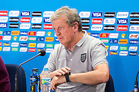 England manager Roy Hodgson looks at his watch during a press conference