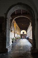 Peru, Cusco.  Corridor in the Santo Domingo Monastery, built on and around the Qorikancha, Inca Temple of the Sun.