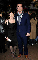 """SHARON MAGUIRE & MATTHEW MacFADYEN .At the """"Incendiary"""" Screening during the Times BFI London Film Festival, Odeon West End,  London, England, UK, .October 18th 2008..full length black dress blue suit scarf brown shoes .CAP/CAN.©Can Nguyen/Capital Pictures"""