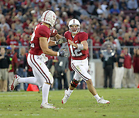 STANFORD, CA - November 6, 2010: Andrew Luck passes to Coby Fleener during a 42-17 Stanford win over the University of Arizona, in Stanford, California.