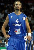 French national basketball team player Joakim Noah reacts before start of final Eurobasket 2011 game between Spain and France in Kaunas, Lithuania, Sunday, September 18, 2011. (photo: Pedja Milosavljevic)