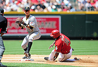 Apr. 11, 2010; Phoenix, AZ, USA; Arizona Diamondbacks base runner Justin Upton is forced out at second base by Pittsburgh Pirates shortstop Ronny Cedeno as he throws to first to complete the double play in the second inning at Chase Field. Mandatory Credit: Mark J. Rebilas-