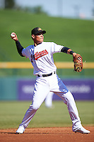 Mesa Solar Sox Yu-Cheng Chang (13), of the Cleveland Indians organization, during a game against the Scottsdale Scorpions on October 21, 2016 at Sloan Park in Mesa, Arizona.  Mesa defeated Scottsdale 4-3.  (Mike Janes/Four Seam Images)