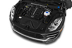 Car stock 2018 Porsche Macan Turbo 5 Door SUV engine high angle detail view