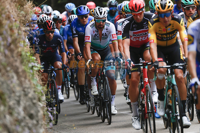 The peloton including Peter Sagan (SVK) Bora-Hansgrohe in action during Stage 3 of Tour de France 2020, running 198km from Nice to Sisteron, France. 31st August 2020.<br /> Picture: Bora-Hansgrohe/BettiniPhoto | Cyclefile<br /> All photos usage must carry mandatory copyright credit (© Cyclefile | Bora-Hansgrohe/BettiniPhoto)