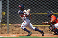 GCL Braves outfielder Ronald Acuna (24) at bat in front of catcher Ruben Castro during a game against the GCL Astros on July 23, 2015 at the Osceola County Stadium Complex in Kissimmee, Florida.  GCL Braves defeated GCL Astros 4-2.  (Mike Janes/Four Seam Images)