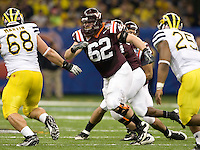 Blake DeChristopher of Virginia Tech in action during Sugar Bowl game against Michigan at Mercedes-Benz SuperDome in New Orleans, Louisiana on January 3rd, 2012.  Michigan defeated Virginia Tech, 23-20 in first overtime.
