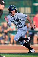 Dayton Dragons Matt McLain (23) running the bases during a game against the Fort Wayne TinCaps on August 25, 2021 at Parkview Field in Fort Wayne, Indiana.  (Mike Janes/Four Seam Images)