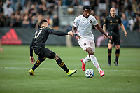 LOS ANGELES, CA - MARCH 01: Alvas Powell #2 of Inter Miami CF attempts to move around Brian Rodriguez #17 of LAFC during a game between Inter Miami CF and Los Angeles FC at Banc of California Stadium on March 01, 2020 in Los Angeles, California.