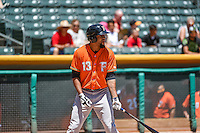 Domingo Santana (13) of the Fresno Grizzlies at bat against the Salt Lake Bees in Pacific Coast League action at Smith's Ballpark on June 14, 2015 in Salt Lake City, Utah.  (Stephen Smith/Four Seam Images)
