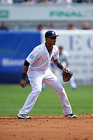 New York Yankees second baseman Starlin Castro (14) during a Spring Training game against the Detroit Tigers on March 2, 2016 at George M. Steinbrenner Field in Tampa, Florida.  New York defeated Detroit 10-9.  (Mike Janes/Four Seam Images)
