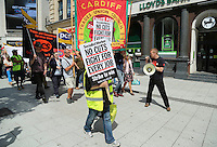 Public Sector Strike one day strike. Workers from the public sector rally in  Cardiff 10th July 2014
